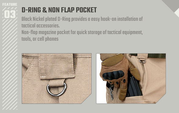 D-RING and NON FLAP POCKET